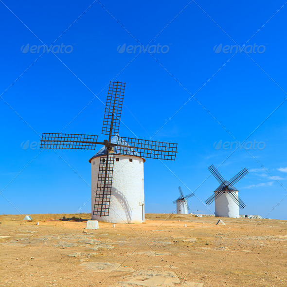 Three windmills. Castile La Mancha, Spain - Stock Photo - Images