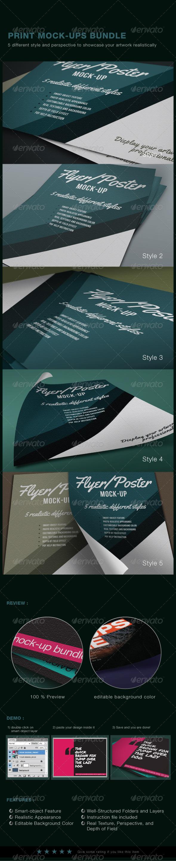 Print Mock-Ups Set - Flyers Print