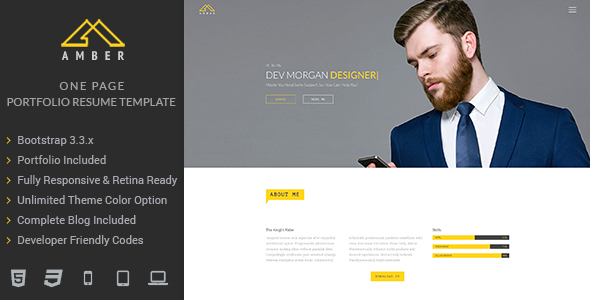 Amber –  One Page Portfolio Resume Template