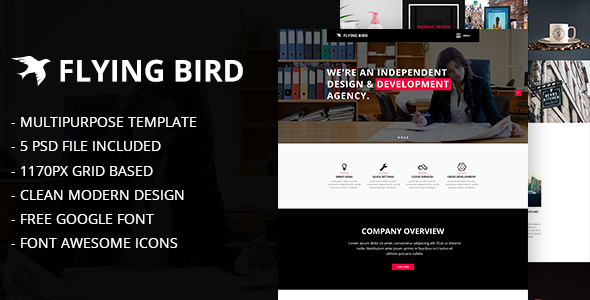 Flying Bird Multipurpose PSD Template