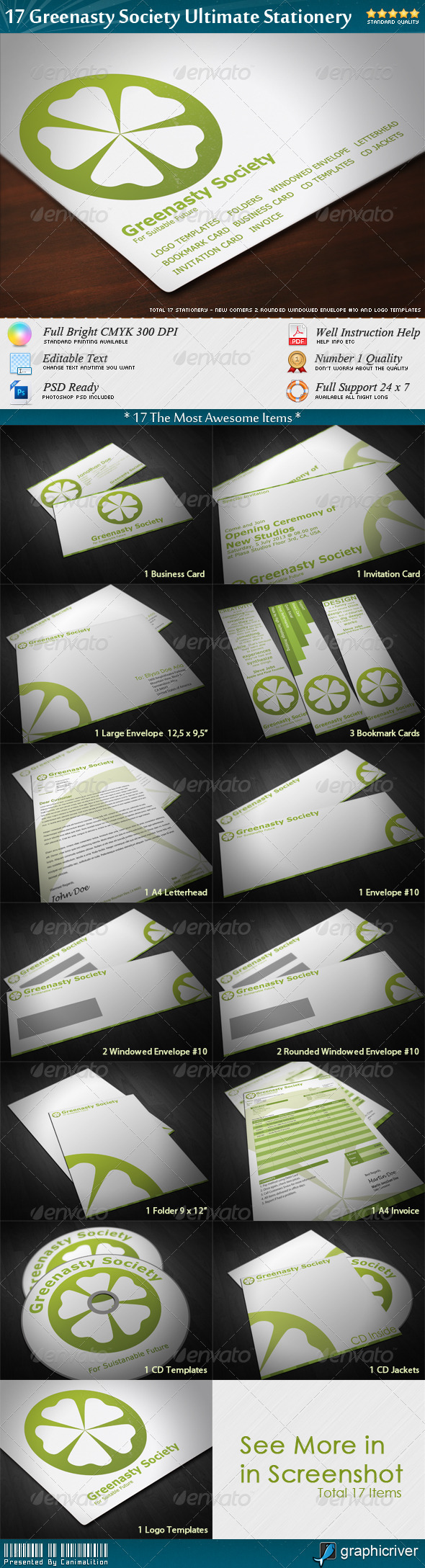 17 Greenasty Society Ultimate Stationery - Stationery Print Templates