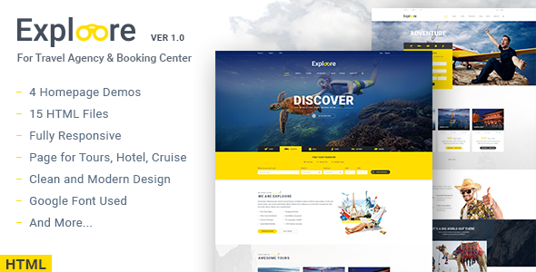 EXPLOORE – Travel, Exploration, Booking HTML Template