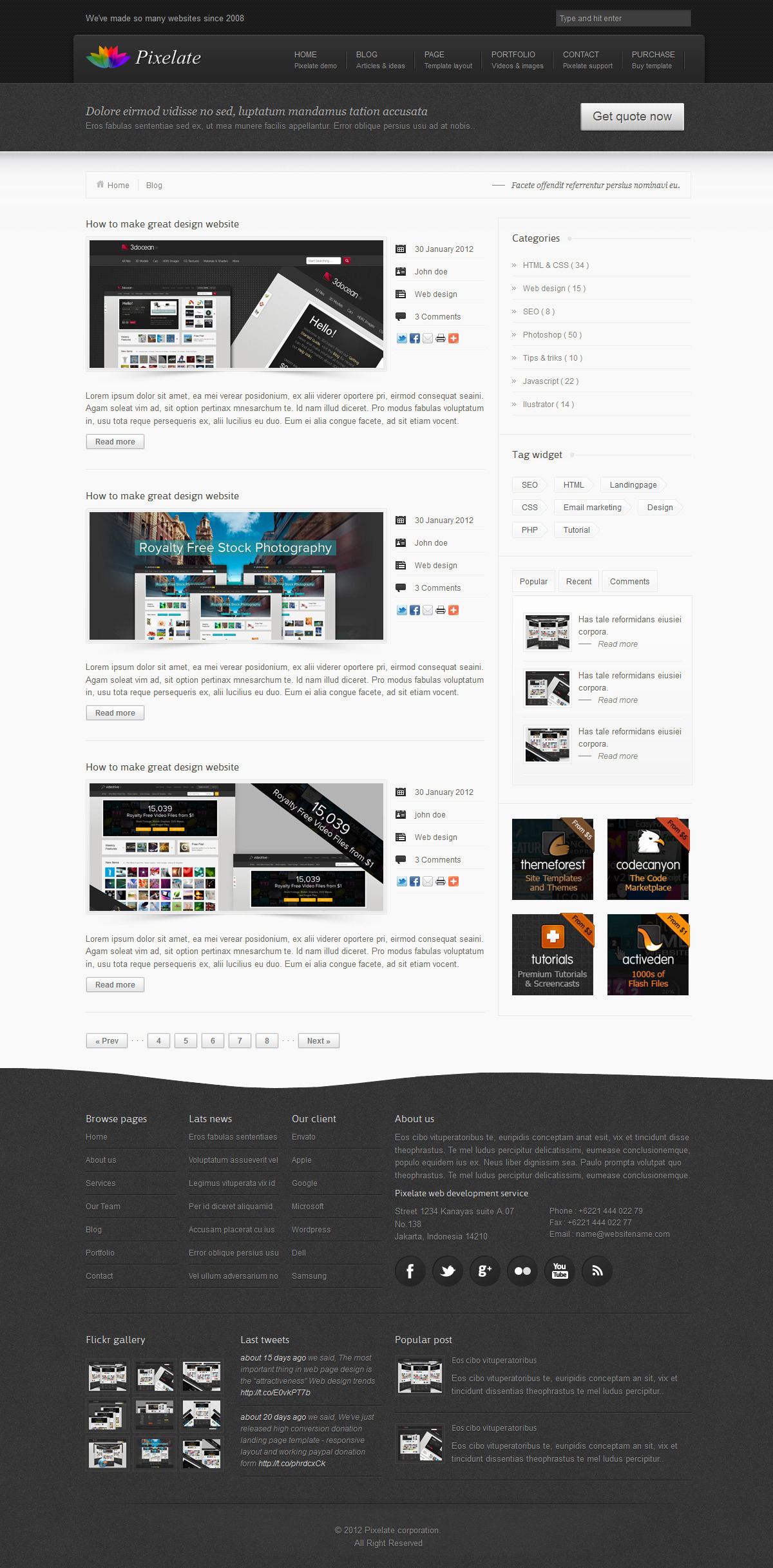 Pixelate corporate website template by iWebStudio | ThemeForest