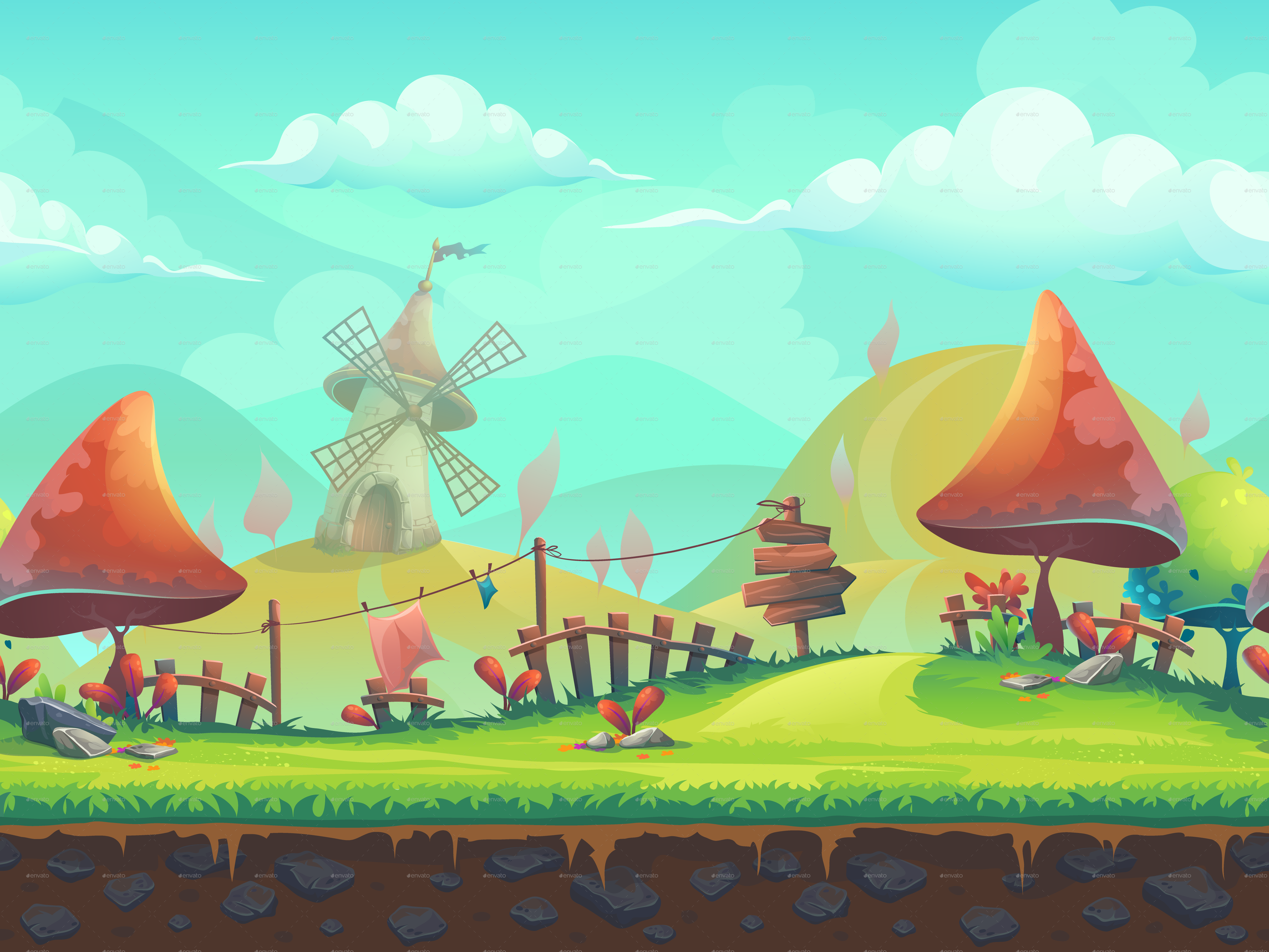 seamless cartoon landscape with a windmill by nearbirds