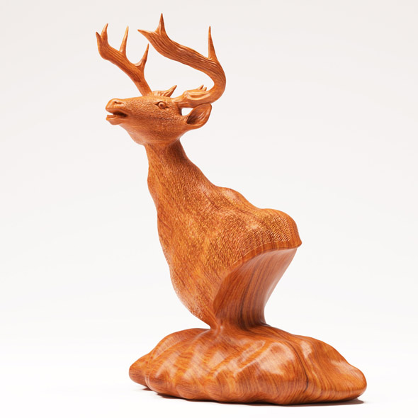 Wood Statuette Proud Stag - 3DOcean Item for Sale