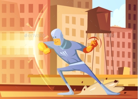 Superhero Protecting The City Illustration
