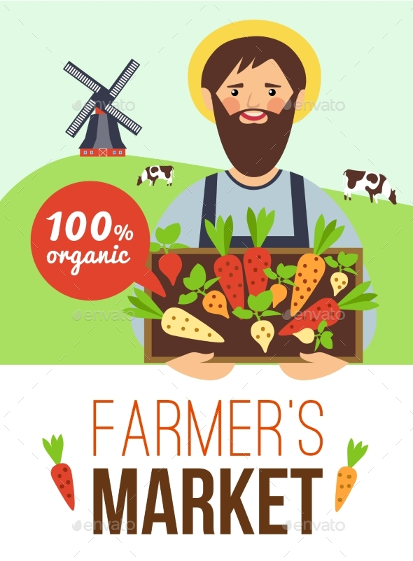 Farmers Market Organic Products Flat Poster  - Services Commercial / Shopping