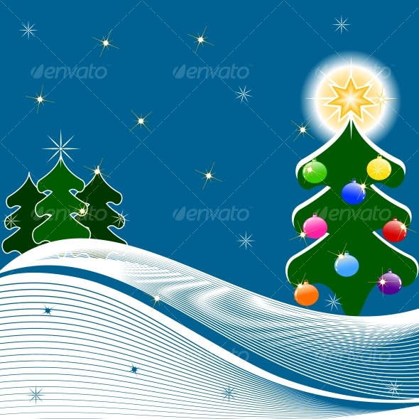 vector illustration of Christmas Tree - Christmas Seasons/Holidays