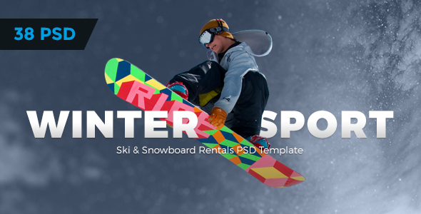 Winter Sport - Ski & Snowboard Rental PSD Template - Retail PSD Templates