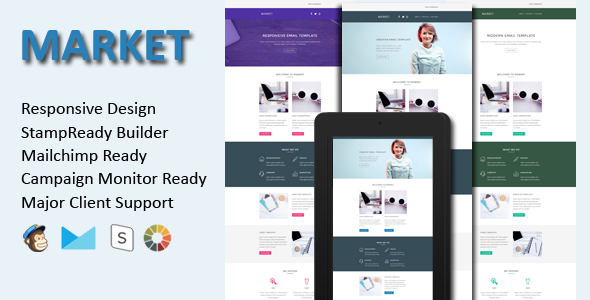 MARKET - Responsive Email Template + Stamp Ready Builder - Email Templates Marketing