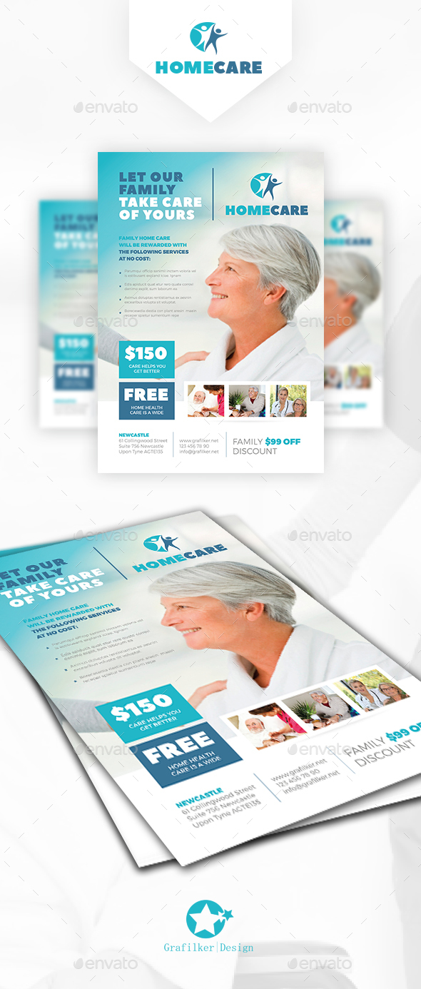 Home Health Care Flyer Templates By Grafilker GraphicRiver - Home health care brochure templates