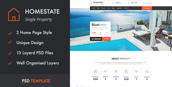 HOMESTATE – Single Property Real Estate PSD Template