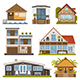 House and Homes Building Set. Apartments and Bungalows. - GraphicRiver Item for Sale
