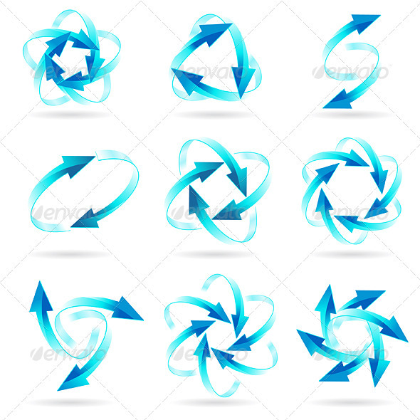 Set of arrow circles - Decorative Vectors