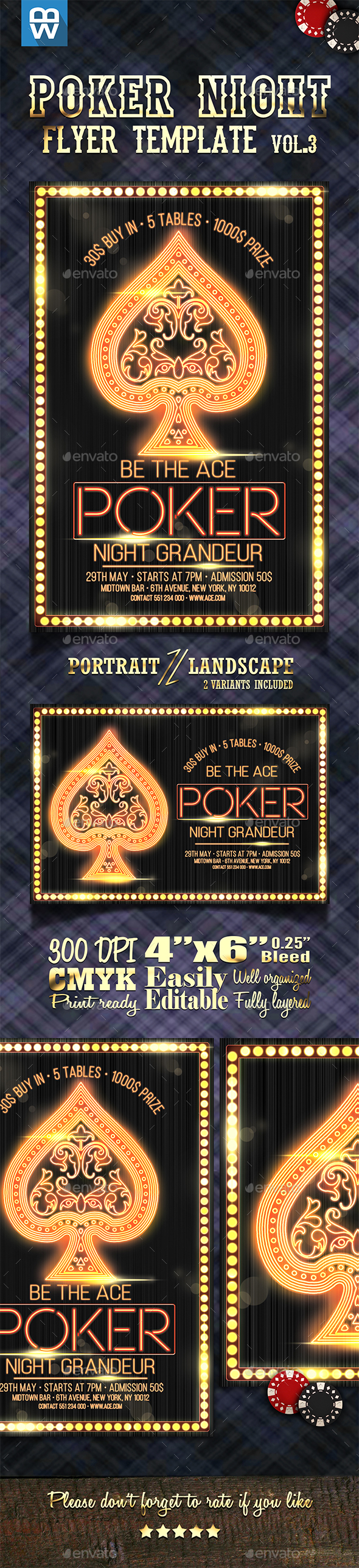 Ace - Poker Night Flyer Template Vol.3