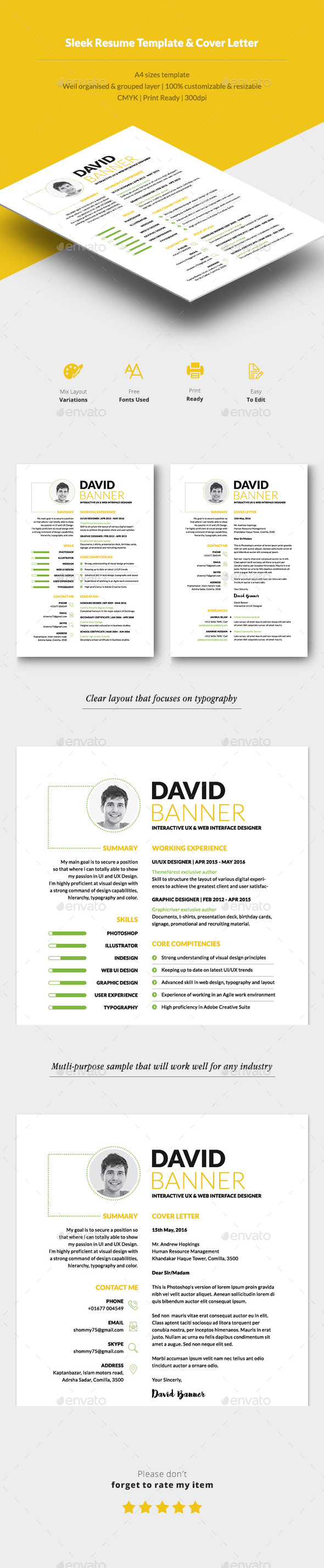 Sleek Resume & CV - Resumes Stationery