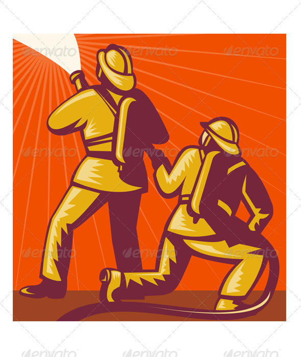 Fireman Firefighter With Fire Hose Retro - People Characters
