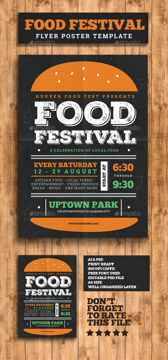 food festival flyer by guuver graphicriver. Black Bedroom Furniture Sets. Home Design Ideas