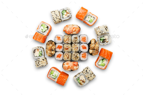 Set of sushi maki and rolls isolated. - Stock Photo - Images
