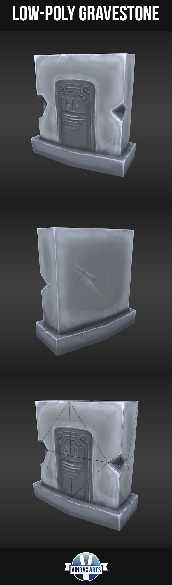 Low-Poly Grave Stone - 3DOcean Item for Sale