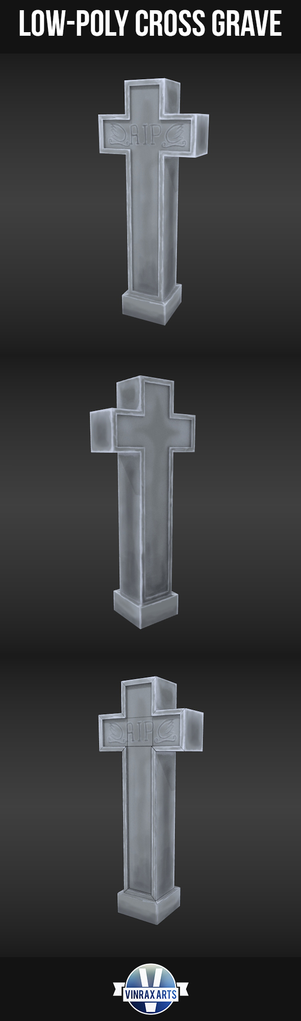 Low-Poly Grave Stone Cross - 3DOcean Item for Sale