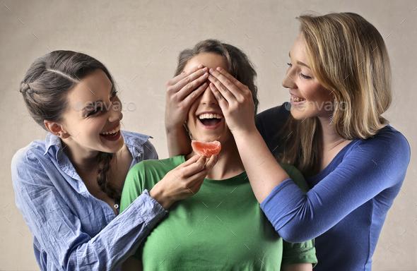 Girls joking  - Stock Photo - Images