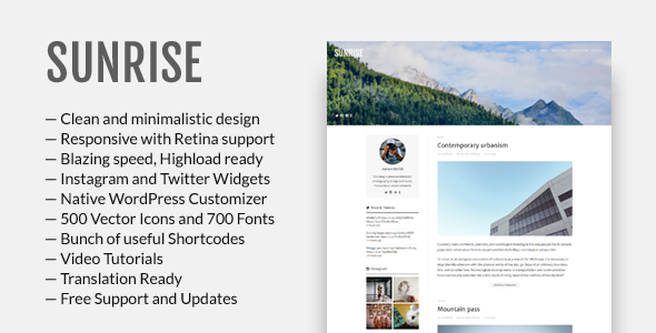 Sunrise – Responsive WordPress Theme