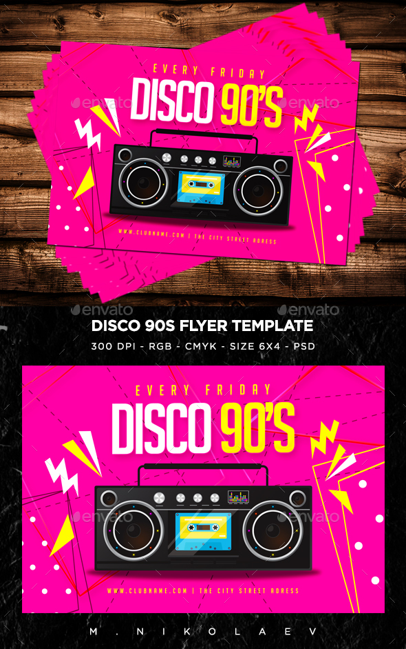 Disco 90s Flyer V9 - Clubs & Parties Events