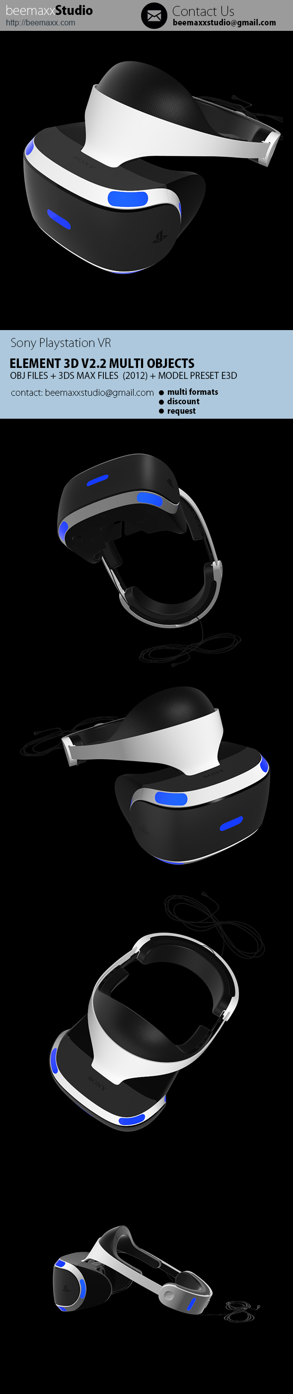E3D - Sony Playstation VR Headset - 3DOcean Item for Sale