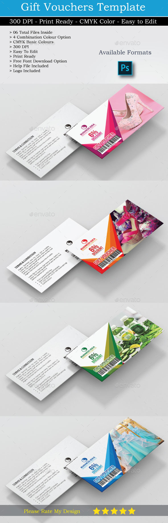 Gift Voucher Card PSD (Updated) - Cards & Invites Print Templates