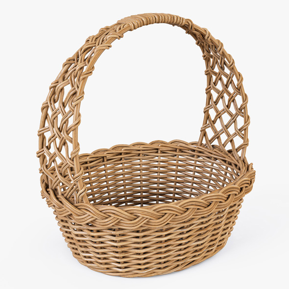Wicker Basket 04 (Natural Color) - 3DOcean Item for Sale