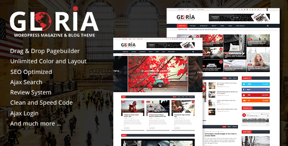 Gloria – Responsive News Magazine Newspaper WordPress Theme