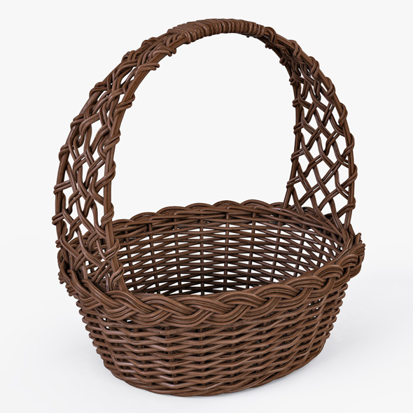 Wicker Basket 04 (Brown Color) - 3DOcean Item for Sale