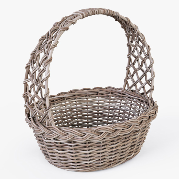 Wicker Basket 04 (Gray Color) - 3DOcean Item for Sale