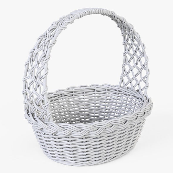 Wicker Basket 04 (White Color) - 3DOcean Item for Sale