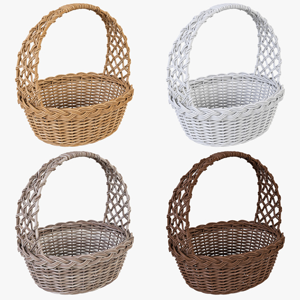 Wicker Basket 04 Set (4 Color) - 3DOcean Item for Sale
