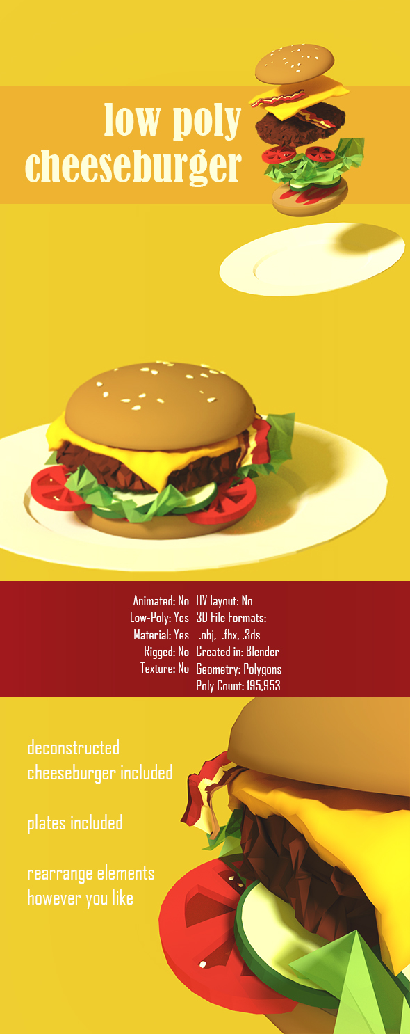 Low Poly Cheeseburger - 3DOcean Item for Sale
