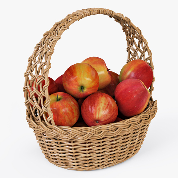 Wicker Basket 04 (Natural Color) with Apples - 3DOcean Item for Sale