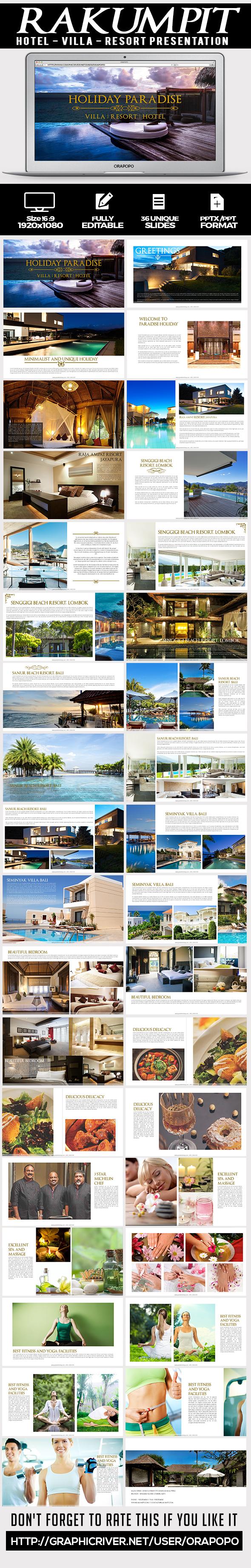 rakumpit ~ hotel and resort presentation templateorapopo, Modern powerpoint