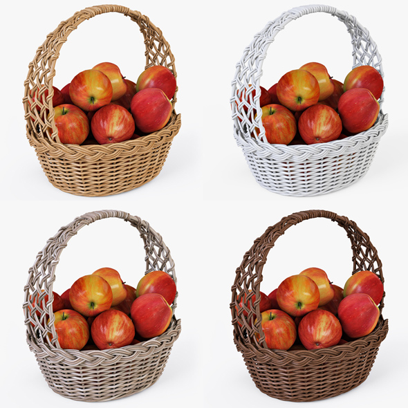 Wicker Basket 04 Set (4 Color) with Apples - 3DOcean Item for Sale