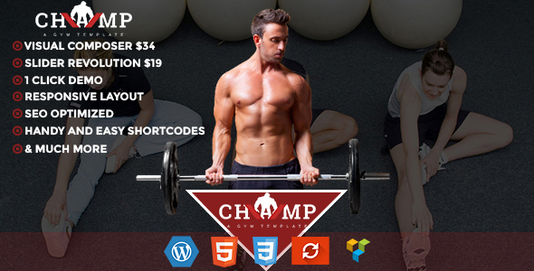 champ gym  fitness yoga wordpress theme