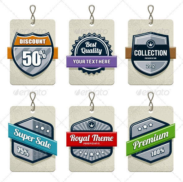 Vector set of retro labels - Vectors