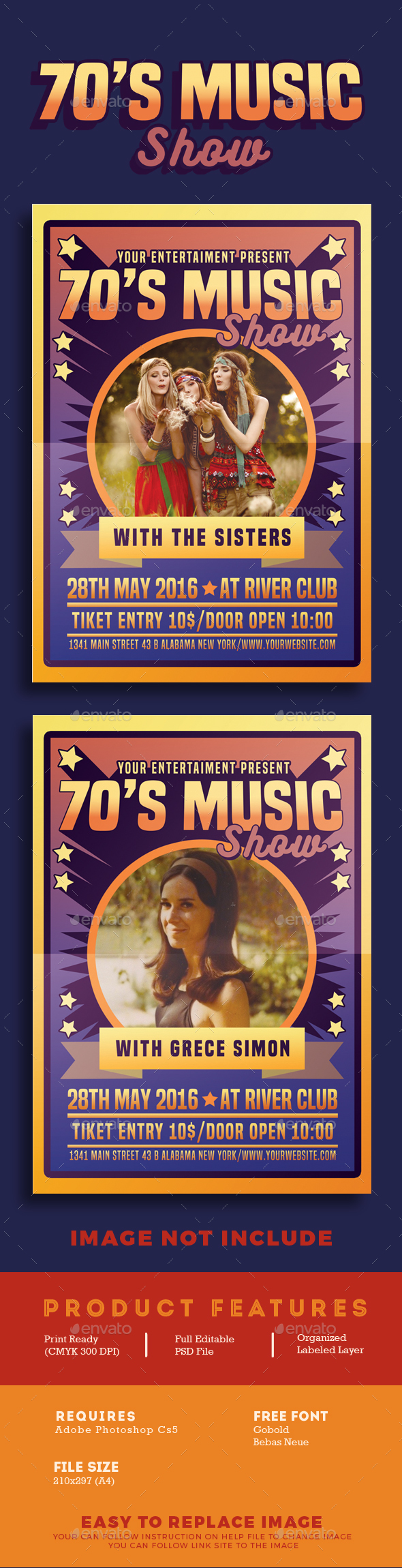 70's Music Show Poster Flyer - Flyers Print Templates