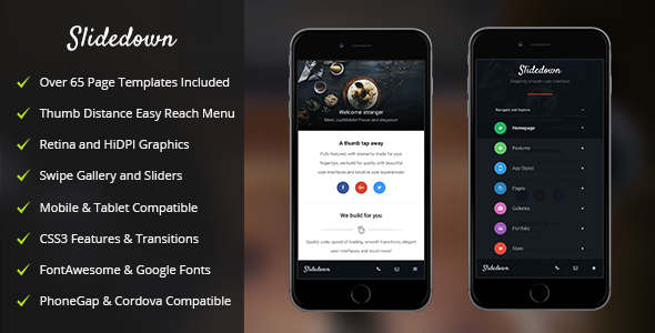 SlideDown Mobile | Mobile Template - Mobile Site Templates