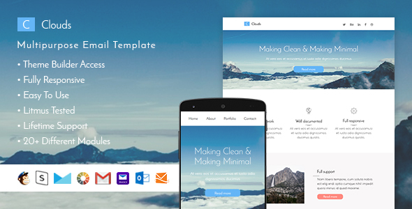 Clouds - Responsive Email + StampReady Builder - Email Templates Marketing
