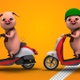 Funny Pink Pig Riding A Scooter (2-Pack) - VideoHive Item for Sale