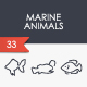 Marine Animals Thinline Icons - GraphicRiver Item for Sale