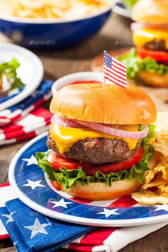 Homemade Memorial Day Hamburger Picnic - Stock Photo - Images