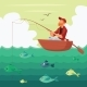 Fisherman Sitting In The Boat - GraphicRiver Item for Sale