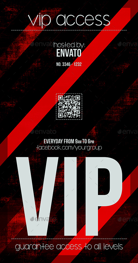 Devil Red Vip Pass Template by Tzochko | GraphicRiver